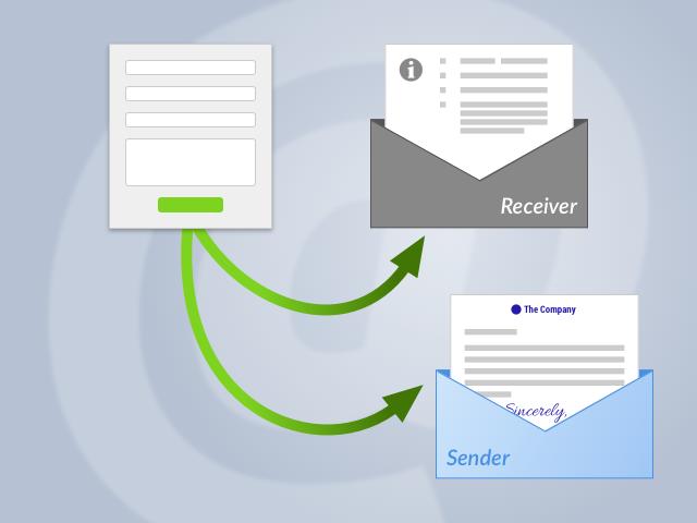 Illustration: Formular versendet zwei verschiedene E-Mail-Templates
