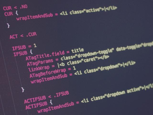Screenshot eines TypoScript für ein Menü