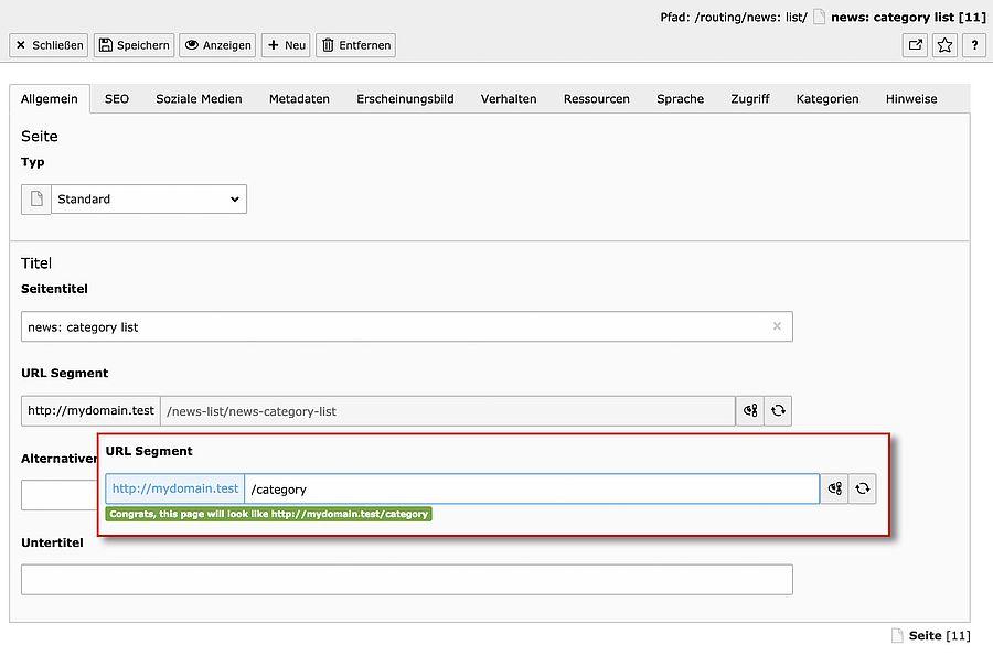 TYPO3-Seiteneigenschaften: URL-Segment bearbeiten